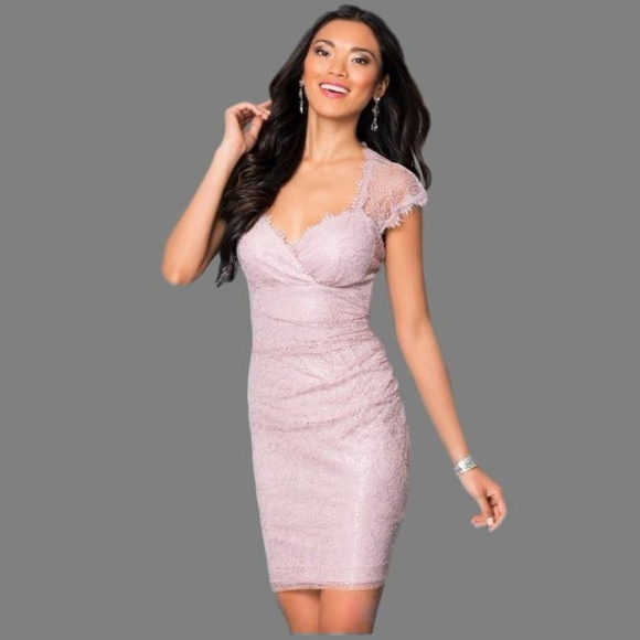 MARINA Dresses & Skirts | Lace And Sequin Blush Shirred Cocktail ...